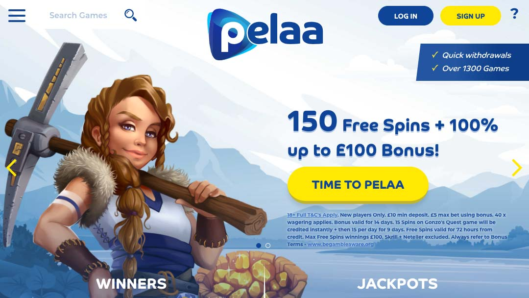 Pelaa Casino Home Page Screenshot