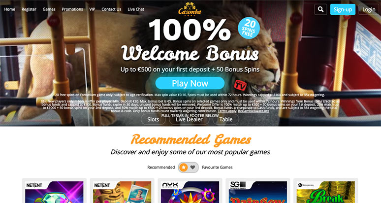 Screenshot from Casimba Casino Frontpage in 774 by 412 pixels