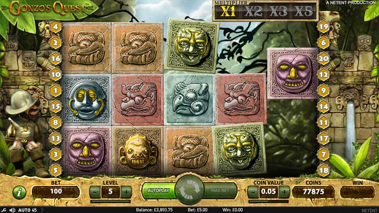 Screenshot from Gonzos Quest by NetEnt in demo play.