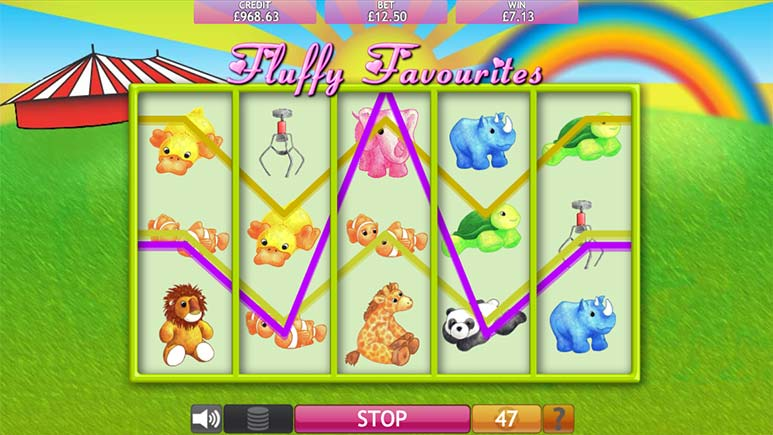 Screenshot of Fluffy Favourites Megaways Slot by Eyecon in demo mode