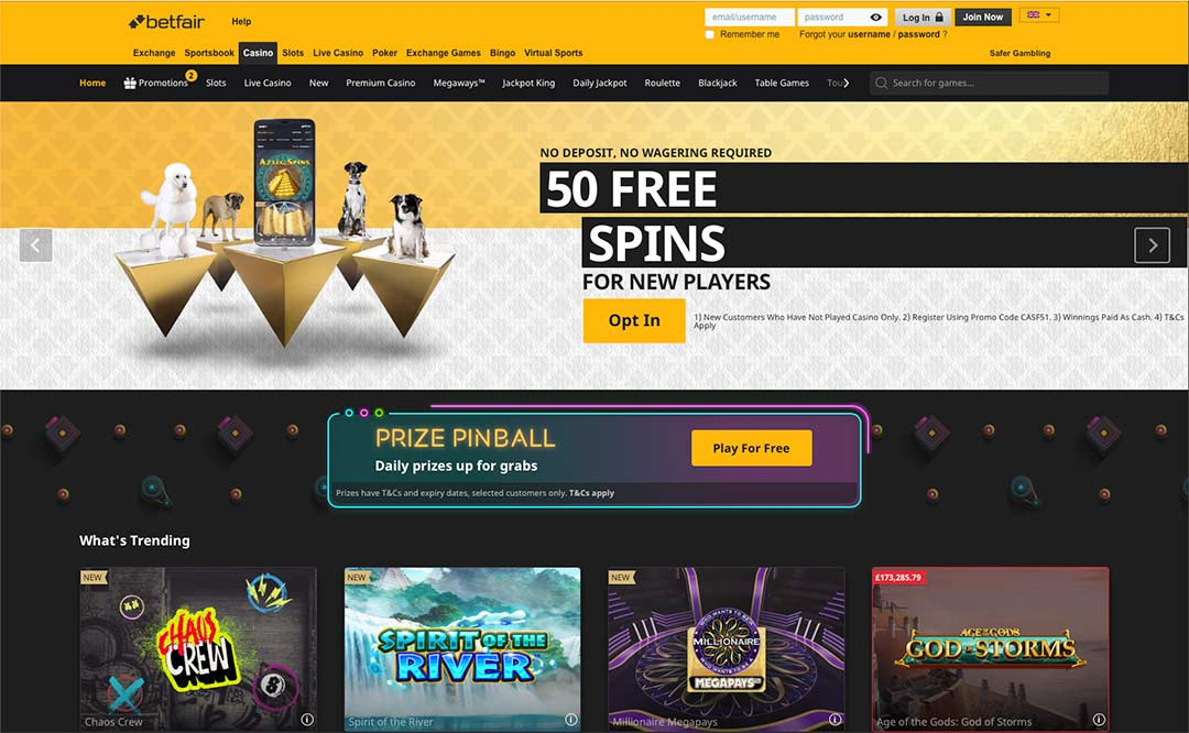 Screenshot Betfair Casino